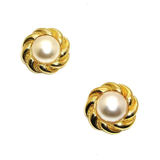 Retro Faux Pearl Clip Earrings Unsigned MONET
