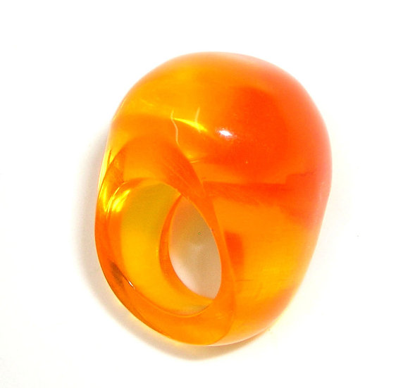Amber Buble Lucite Ring  LR-014