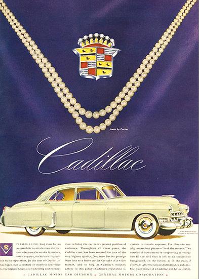 Cadillac Vogue Ad 1949 Fashion Print AP-022