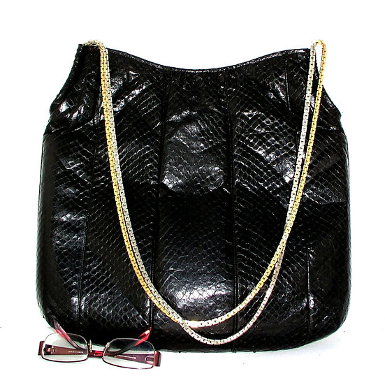 FINESSE Snakeskin Hobo Bag Metal Straps Large VTG