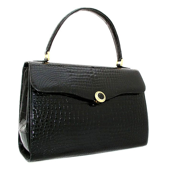 PARAPINI Vintage Alligator Bag Onyx Italy CB-027