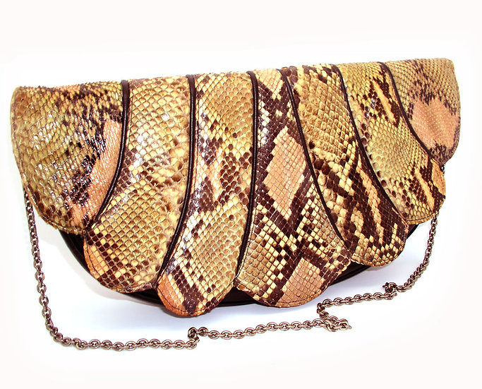 CAPRICE Scalloped Python Clutch Leather VDB-065