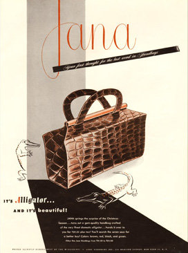 Jana Alligator Box Purse Bazaar 1948 Print AP-051