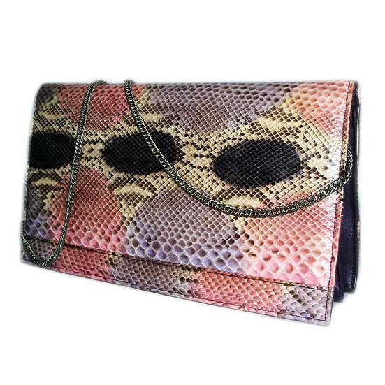 VARON Snakeskin Clutch Purse Pink Purple VDB-057