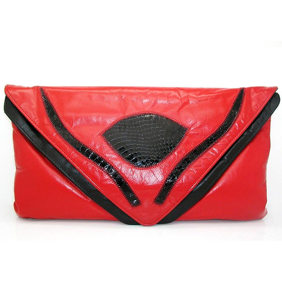 DISCO Vintage Leather Snake Clutch Handbag VEB-047