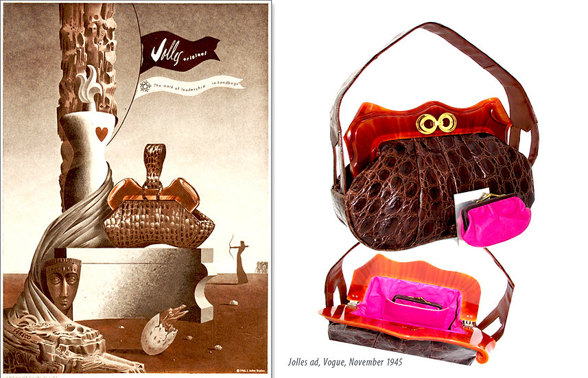 Jolles Alligator Bag Vogue 1945 Ad Print P-022