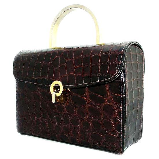 ESCORT Vintage Alligator Lunch Box Bag Rare CB-020