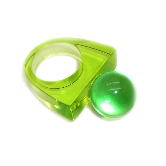 Small Green Ball Lucite Ring LR-003