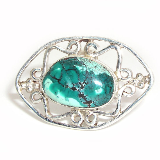 Turquoise Silver Filigree Ring CR-007