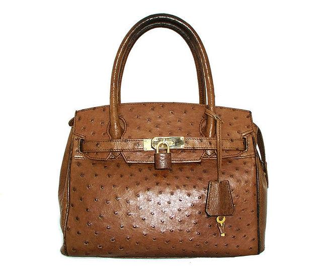 CLASSY Vintage Ostrich Skin Handbag        VEB-024
