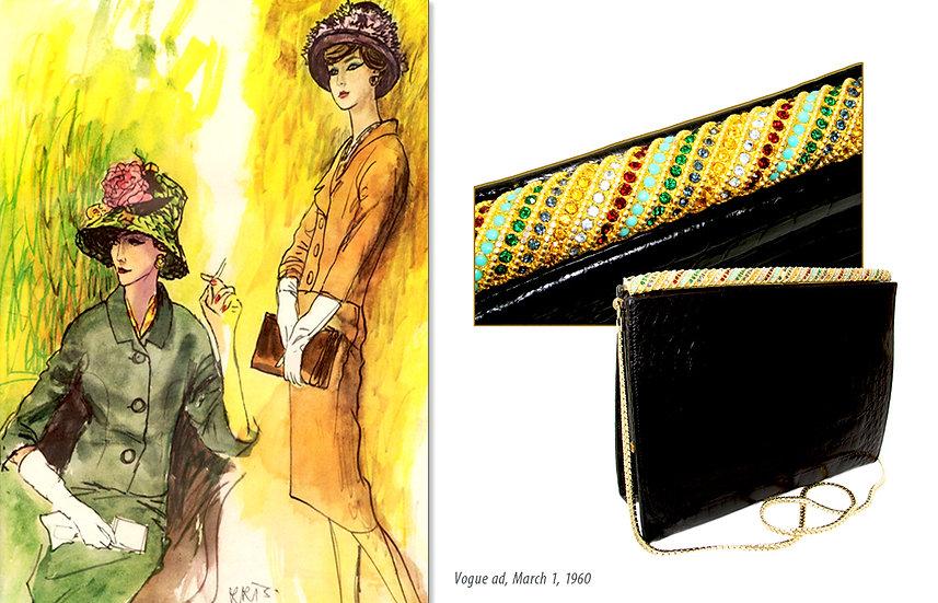 Vogue '60s Ad Jeweled Alligator Bag Print P-008