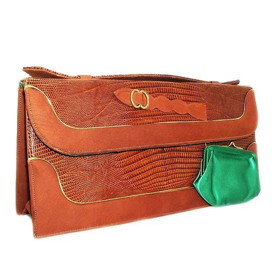 BELLESTONE Vintage Lizard Permasuede Bag   VEB-050