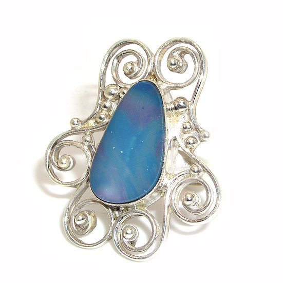 Blue Opal Silver Ring CR-009