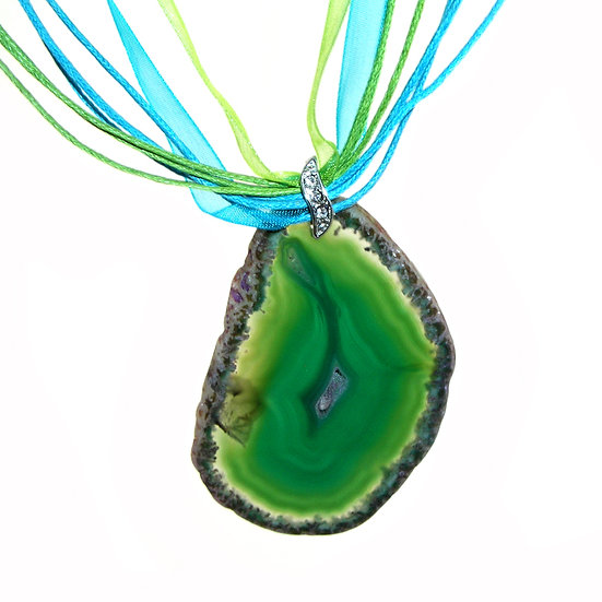 AGATE Druzy Green Artisan Necklace Rhines GN-009