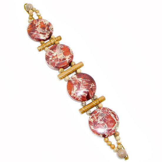 Jasper Beaded Silk Bracelet GSB-001