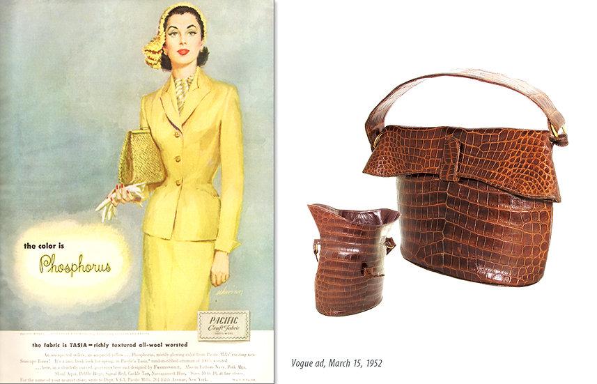 Vogue 1952 Fashion Ad Crocodile Bag Print P-012
