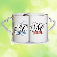 mug duo coeur personnalisé roanne