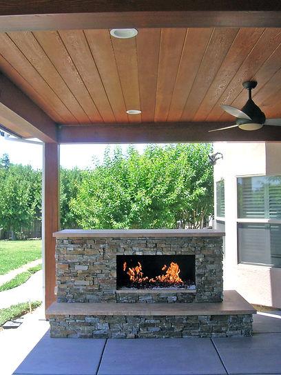 custom design outdoor fireplace, sacramento