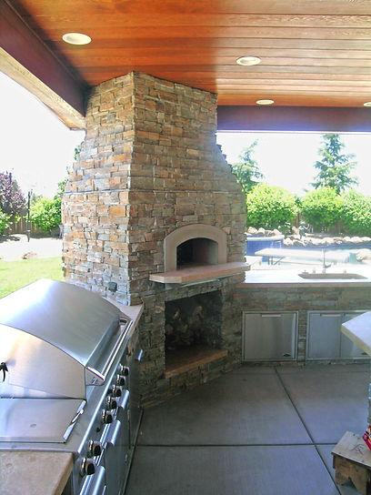 custom outdoor fireplace, pizza oven, sacramento