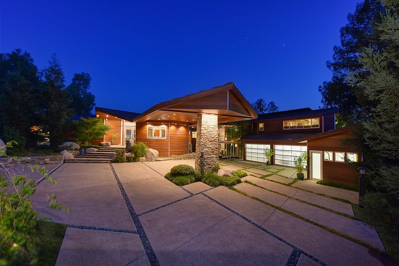 glass garage door, carport, wood siding, contemporary home, custom house, custom builder, modern home, house, home, entry, natural home, sacramento home, sacramento builder, sacramento custom builder, american river home, feng shui, harmony, tranquility