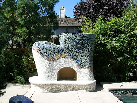 custom mosaic fire place, sacramento