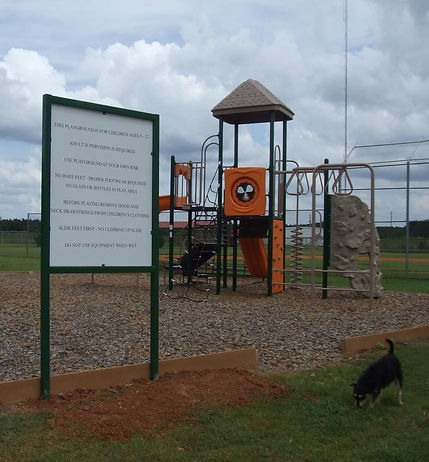 Cutline for pic: Schley Community Playground with Safety and Donors Sign
