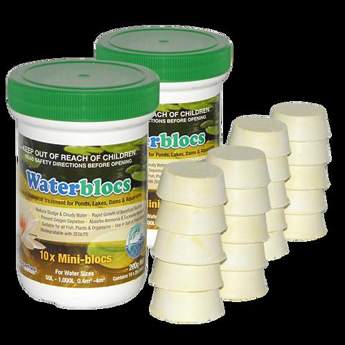 2 x WATERBLOCS MINI-BLOCS 200g Jars(10x20g blocs ea) - Including Express Postage