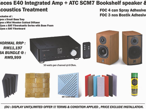 Keces E40 Integrated Amp with ATC SCM 7 Bookshelf Speaker and Acoustic Treatment