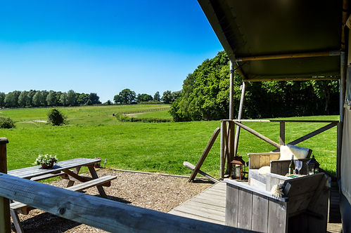 Swallows Oast Glamping - The view from the Safari Tent