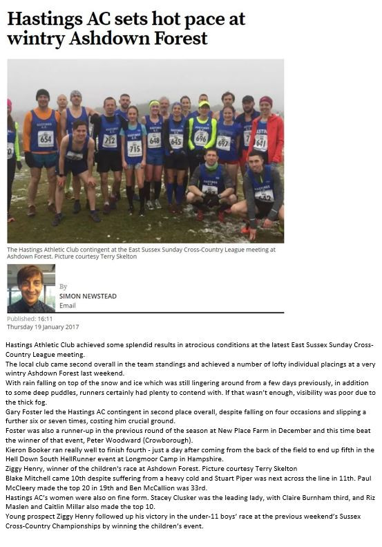 Hastings Athletic Club East Sussex Cross Country League