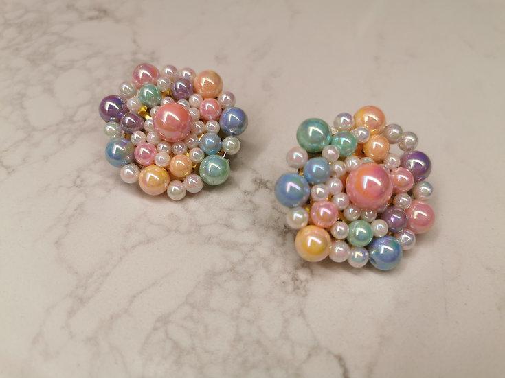 Rainbow Bubble clip on earrings