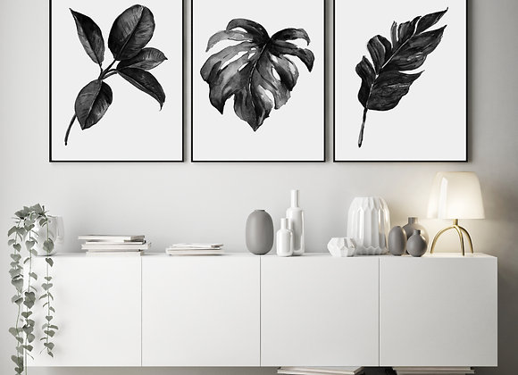 SET OF 3 MONOCHROME LEAF PRINTS