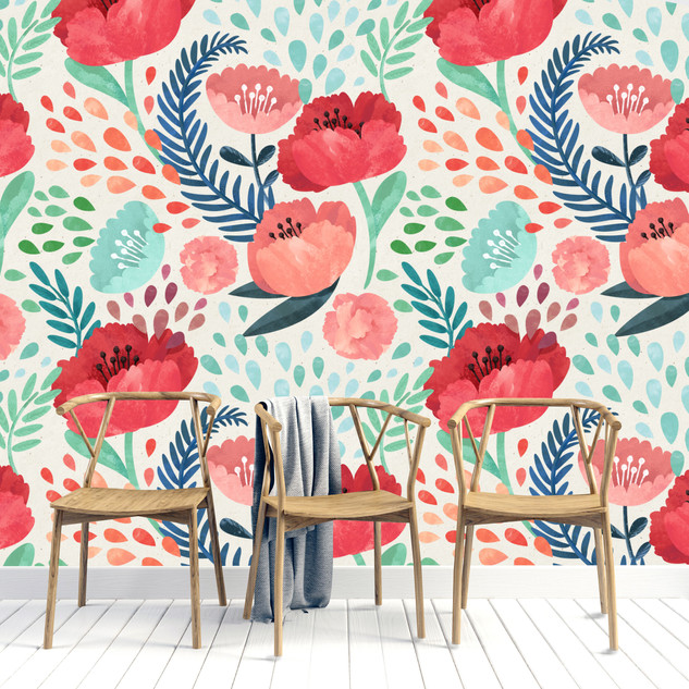RED FLORAL  WALL MURAL