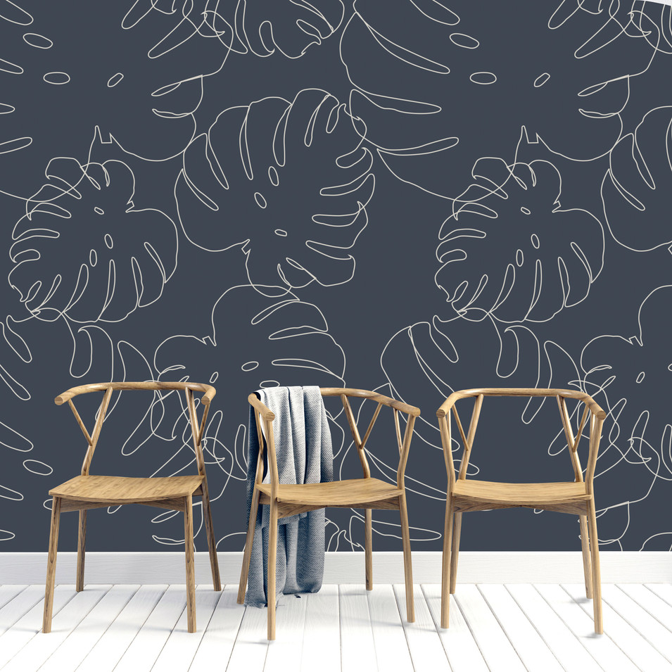 MONSTERA NAVY MURAL