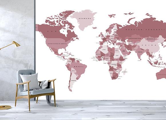 Pink World Map