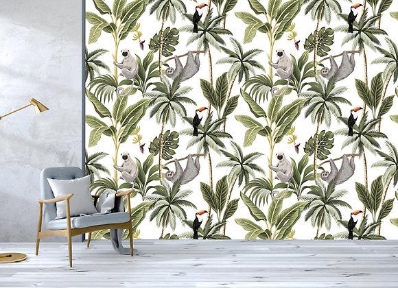 Tropical Jungle Animal Print - White
