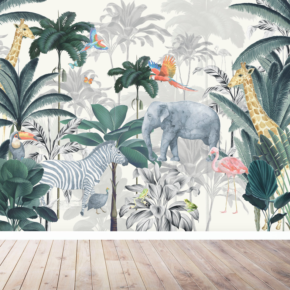 JUNGLE MURAL CREAM