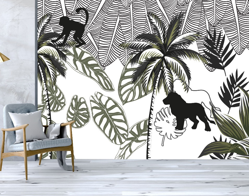 MONOCHROME JUNGLE MURAL