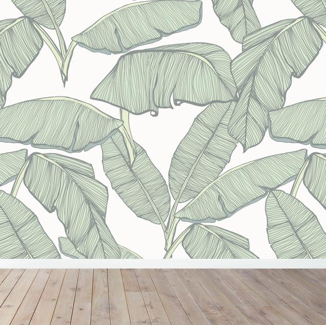 JUMBO GREEN LEAVES MURAL