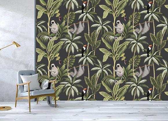 Tropical Jungle Print - Charcoal