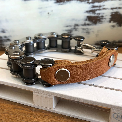 RECYCLED MOTORBIKE CHAIN AND LEATHER BRACELET medium