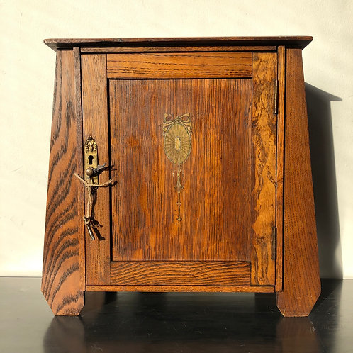 ART DECO FRENCH  STYLE OAK PIPE CABINET. With lock and key
