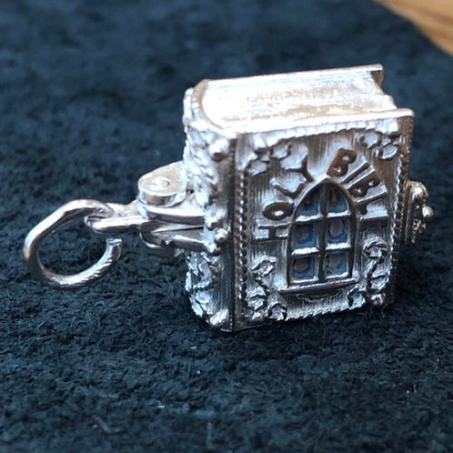 VINTAGE NUVO STERLING SILVER OPENING BIBLE CHARM