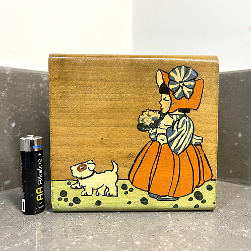 VINTAGE WOODEN BOX, girl and her dog