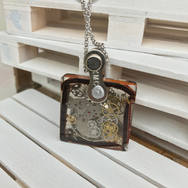 STEAMPUNK SQUARE RESIN AND LEATHER PENDANT