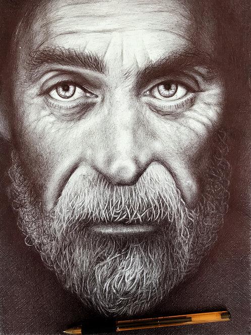 LTD EDITION PRINT A3+ BALLPOINT PEN PORTRAIT OF BEARDY OLD MAN