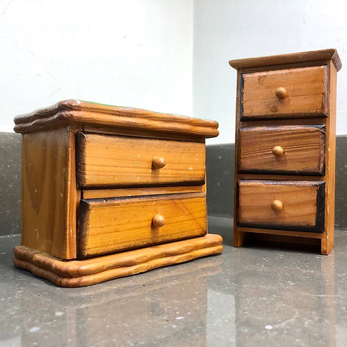PAIR OF MINIATURE WOODEN CHEST OF DRAWERS