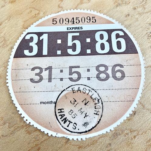 ORIGINAL UK ROAD TAX DISC MAY 86. AUSTIN