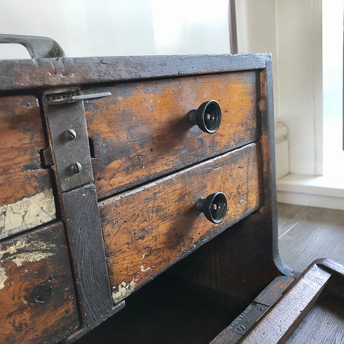 VINTAGE WOODEN ENGINEER'S TOOLBOX WITH 4 DRAWERS