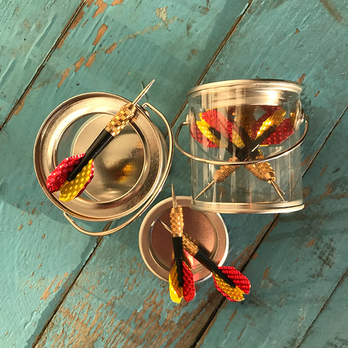 MINI REAL DARTS IN A CLEAR PAINT CAN GIFT TIN